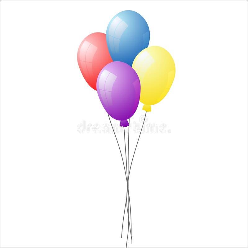 Grupp av färgrika heliumballonger som isoleras på genomskinlig backgr vektor illustrationer