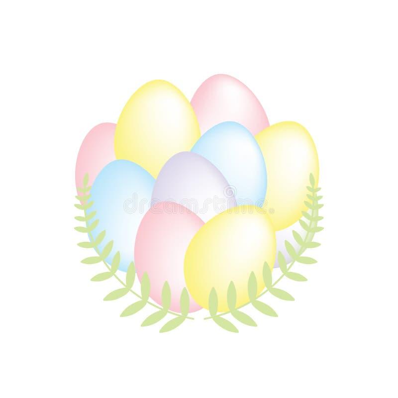 Grupp av färgrika vanliga påskägg som gränsas med dekorativa gröna filialer, enkel vektorillustration som isoleras på vit royaltyfri illustrationer