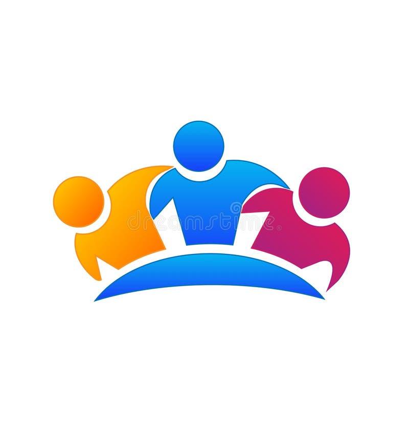 Grupp av för vänner symbolen tillsammans royaltyfri illustrationer