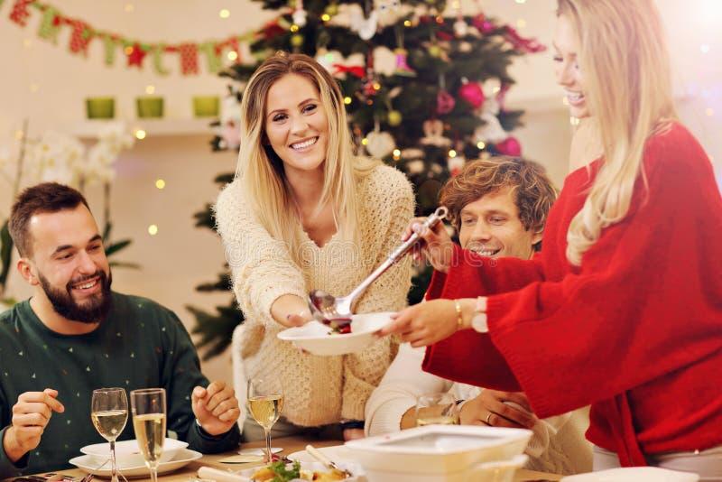 Grupp av familj och vänner som firar julmatställen royaltyfri bild