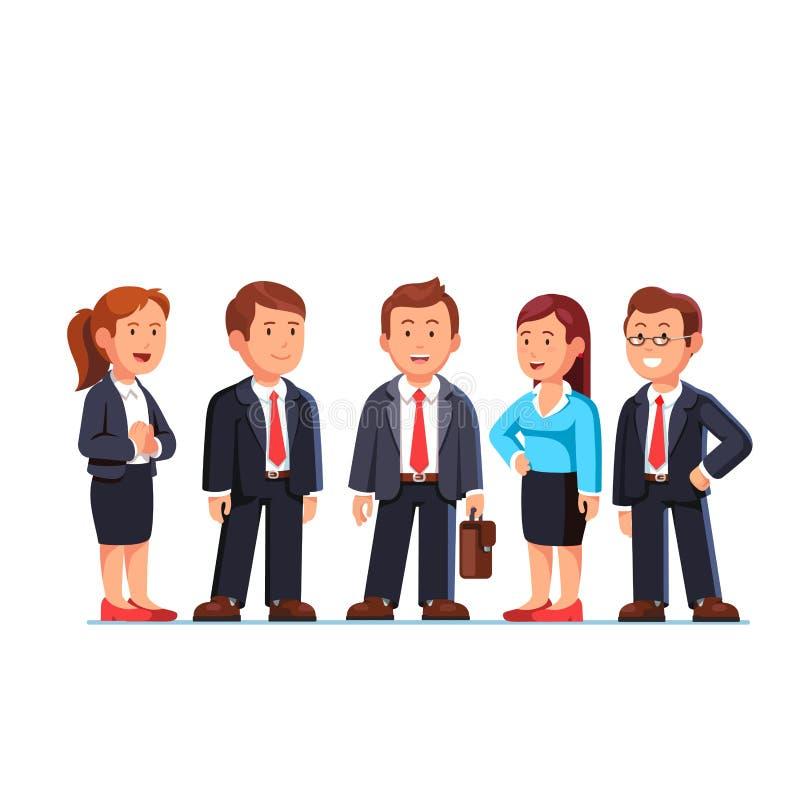 Grupp av fem affärspersoner som står i dräkter royaltyfri illustrationer