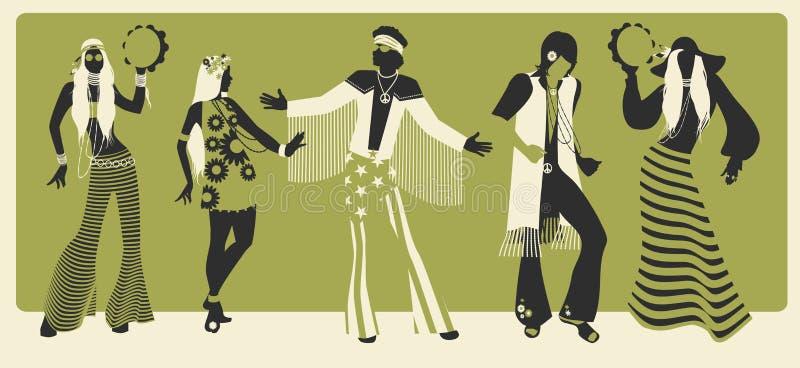 Grupp av fem bärande hippiekläder av 60-tal och dansa för 70-tal royaltyfri illustrationer