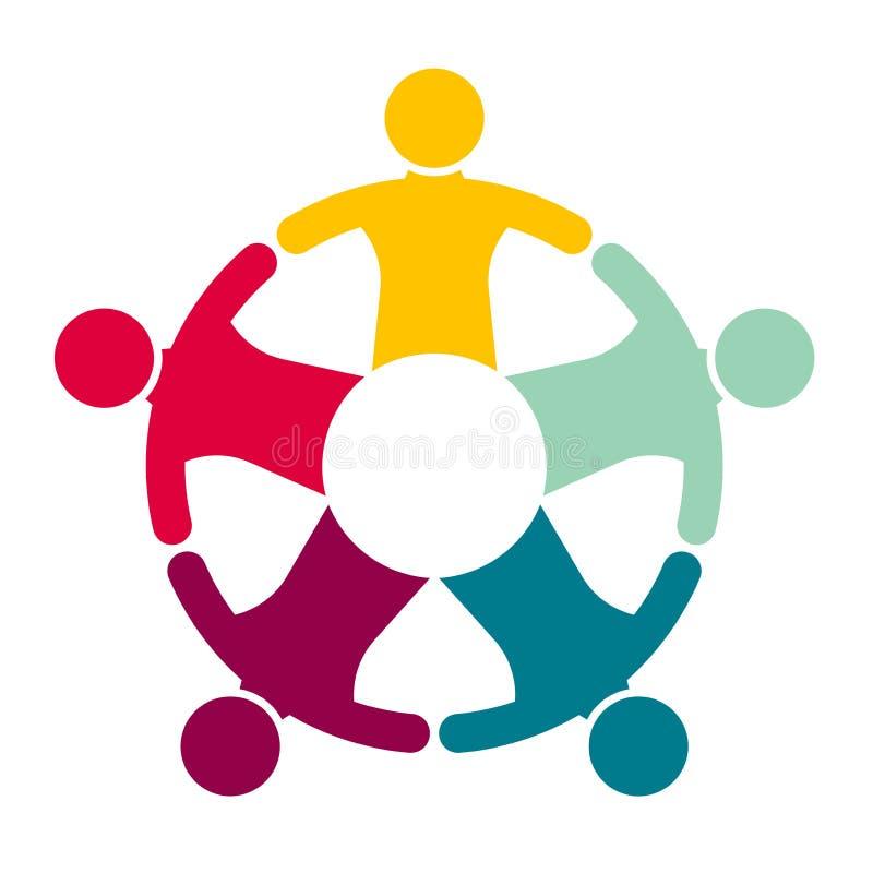 Grupp av fem personer i en cirkel Teamworkmöte folket möter i rummet stock illustrationer