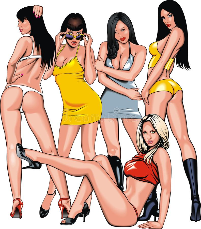Grupp av flickor från min dröm royaltyfri illustrationer