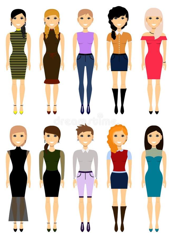 Grupp av flickor i olik kläder vektor vektor illustrationer