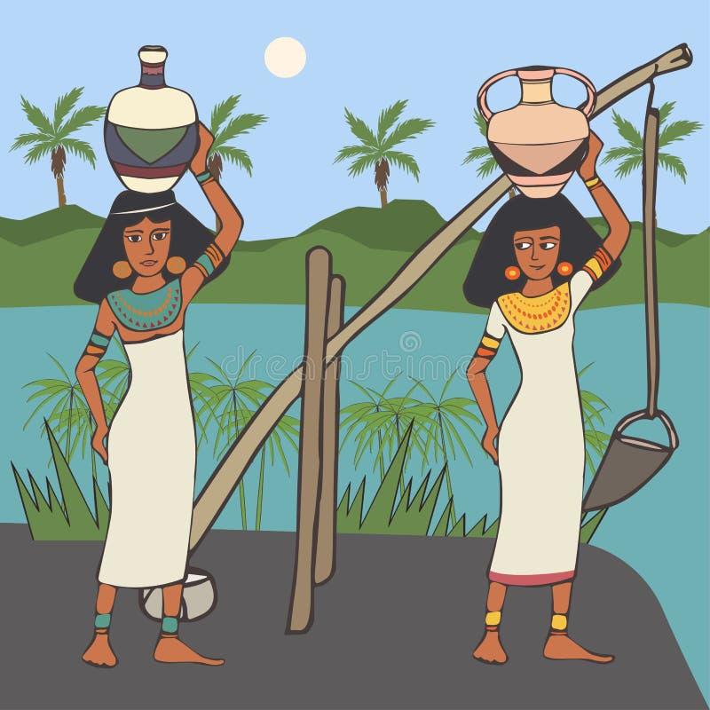 Grupp av forntida egyptiska kvinnor nära vattenkanalen royaltyfri illustrationer