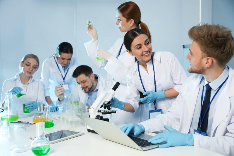 Grupp av forskare som arbetar i kemilaboratorium arkivfoton