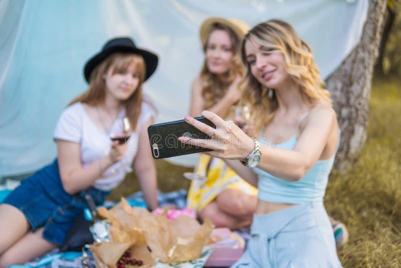 Grupp av fotoet för selfie för tagande för flickavänner royaltyfria foton