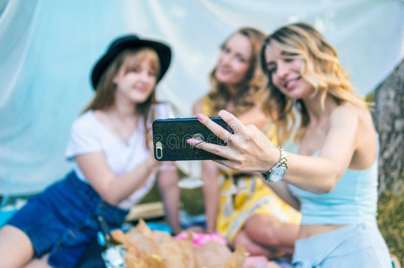 Grupp av fotoet för selfie för tagande för flickavänner royaltyfria bilder