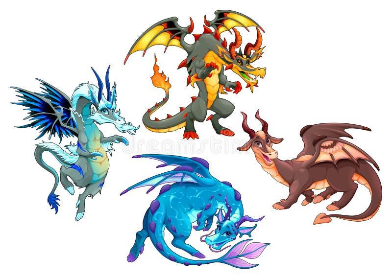 Grupp av fyra drakar royaltyfri illustrationer