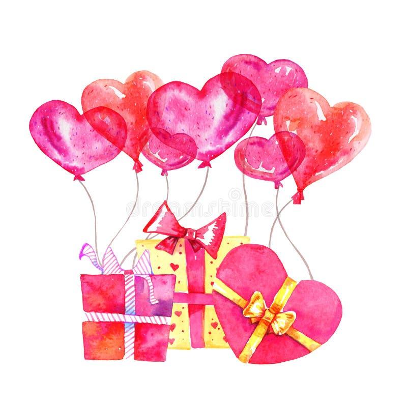 Grupp av gåvaaskar med hjärtaballonger Skissar den utdragna vattenfärgtecknade filmen för handen illustrationen vektor illustrationer