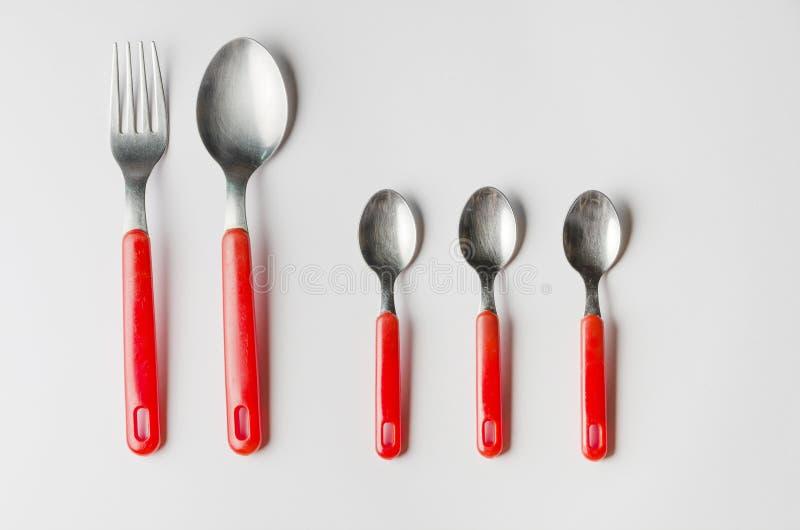 Grupp av gaffel och skedar arkivfoton
