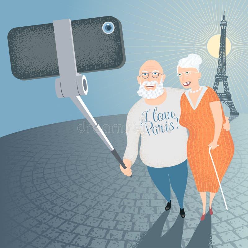 Grupp av gamla människor som gör selfiefotoet med smartphonen royaltyfri illustrationer