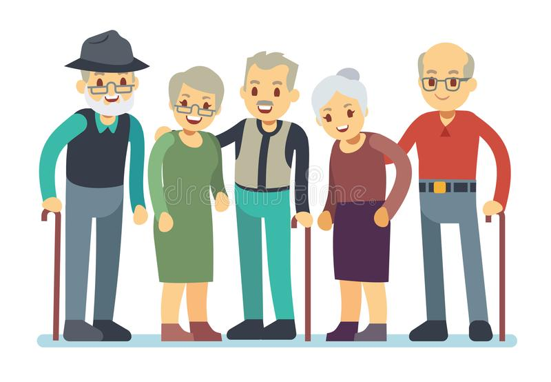 Grupp av gamla människor tecknad filmtecken Lycklig äldre vänvektorillustration vektor illustrationer