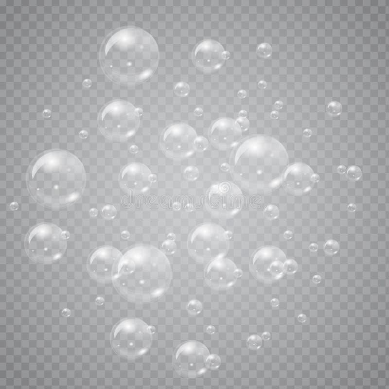 Grupp av genomskinliga såpbubblor som isoleras på bakgrund Hög detaljerad vektorillustration stock illustrationer