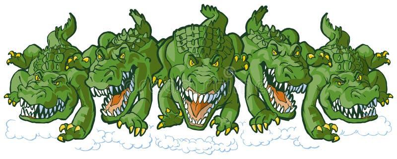 Grupp av genomsnittliga alligatortecknad filmmaskot som framåtriktat laddar stock illustrationer