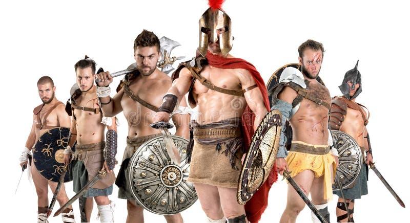 Grupp av gladiatorer royaltyfri fotografi