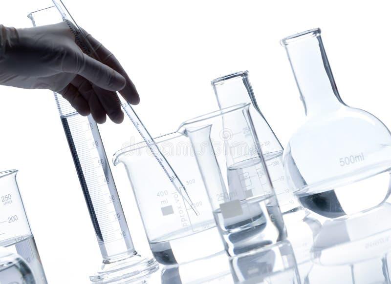 Grupp av glass flaskor med en klar flytande royaltyfri bild