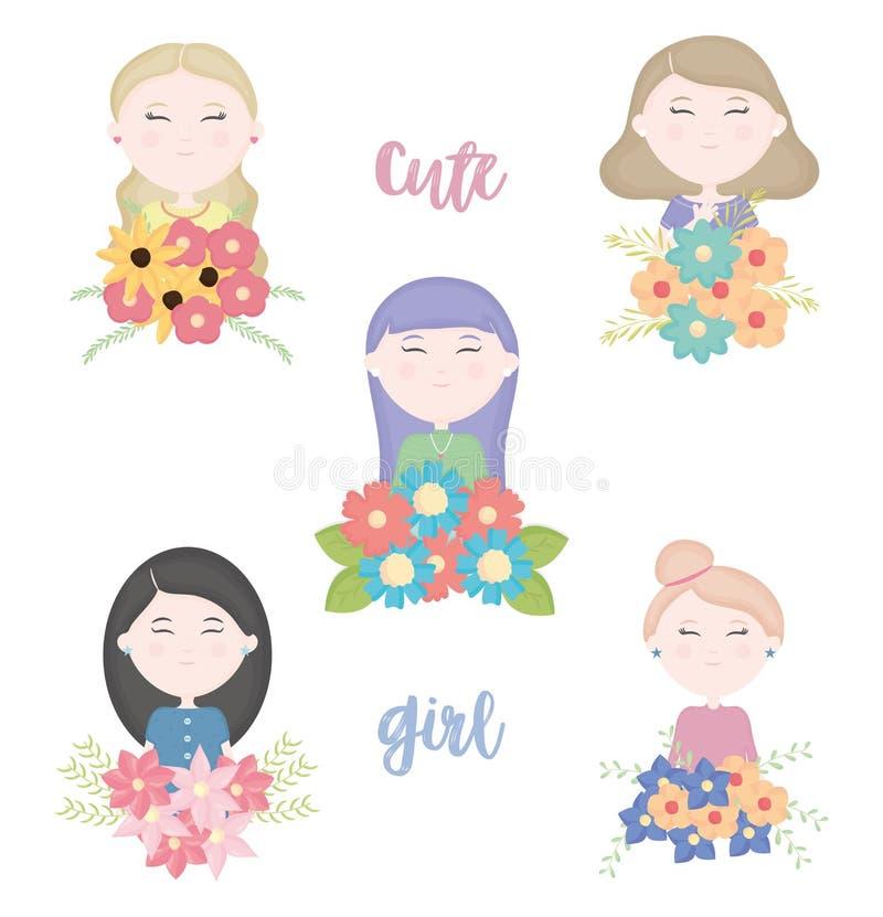 Grupp av gulliga flickor med tecken för blom- bukett vektor illustrationer