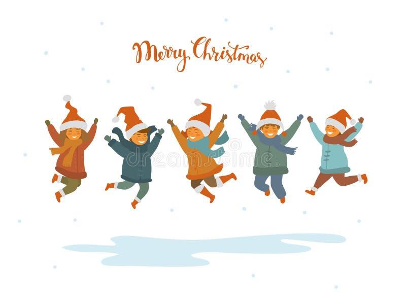 Grupp av gulliga lyckliga barn, pojkar och flickor som hoppar för glädje för jul, isolerad vektorillustration vektor illustrationer