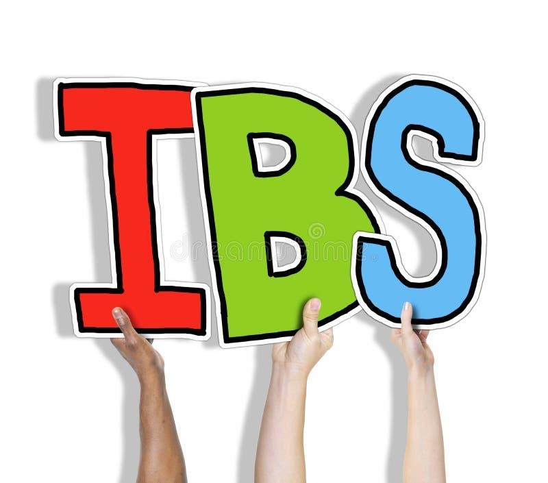 Grupp av händer som rymmer IBS-bokstaven royaltyfria foton