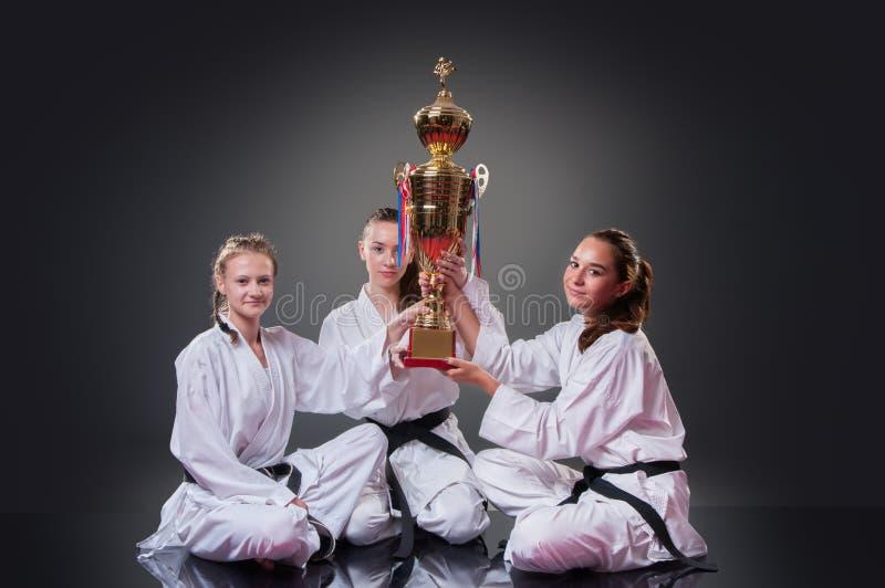 Grupp av härliga kvinnliga karatespelare som poserar med koppen på den gråa bakgrunden Fira det 1st stället fotografering för bildbyråer