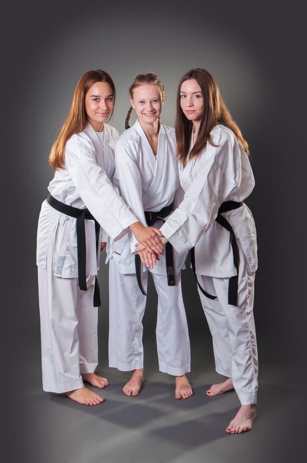 Grupp av härliga unga kvinnliga karatespelare som firar på den gråa bakgrunden arkivbilder