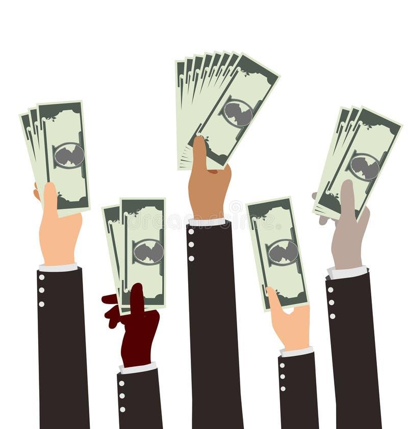 Grupp av hållande pengar för mångfaldBusibess hand royaltyfri illustrationer