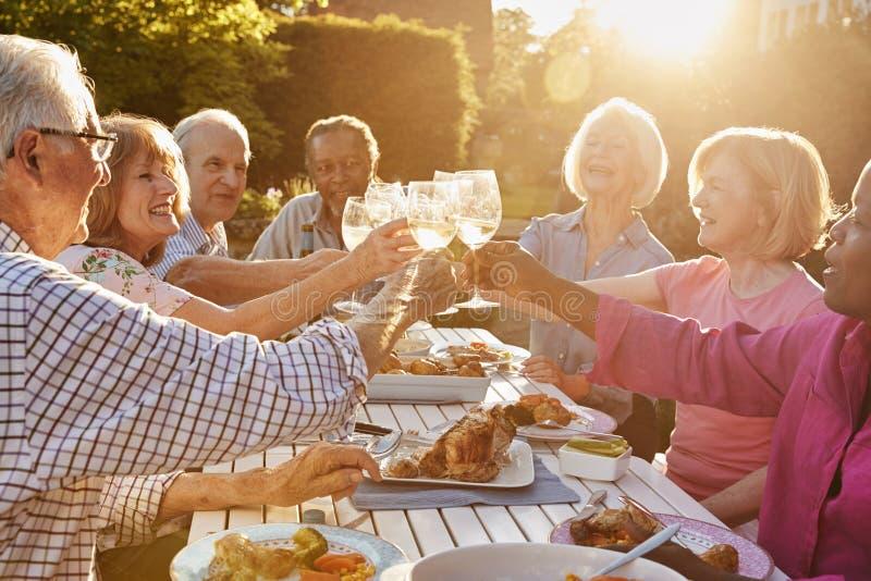Grupp av höga vänner som gör ett rostat bröd på det utomhus- matställepartiet arkivbild