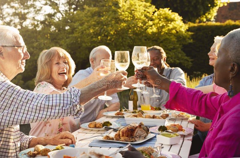 Grupp av höga vänner som gör ett rostat bröd på det utomhus- matställepartiet royaltyfri bild