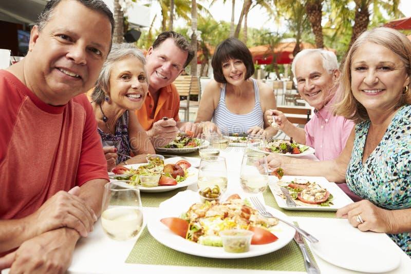 Grupp av höga vänner som tycker om mål i utomhus- restaurang royaltyfria bilder