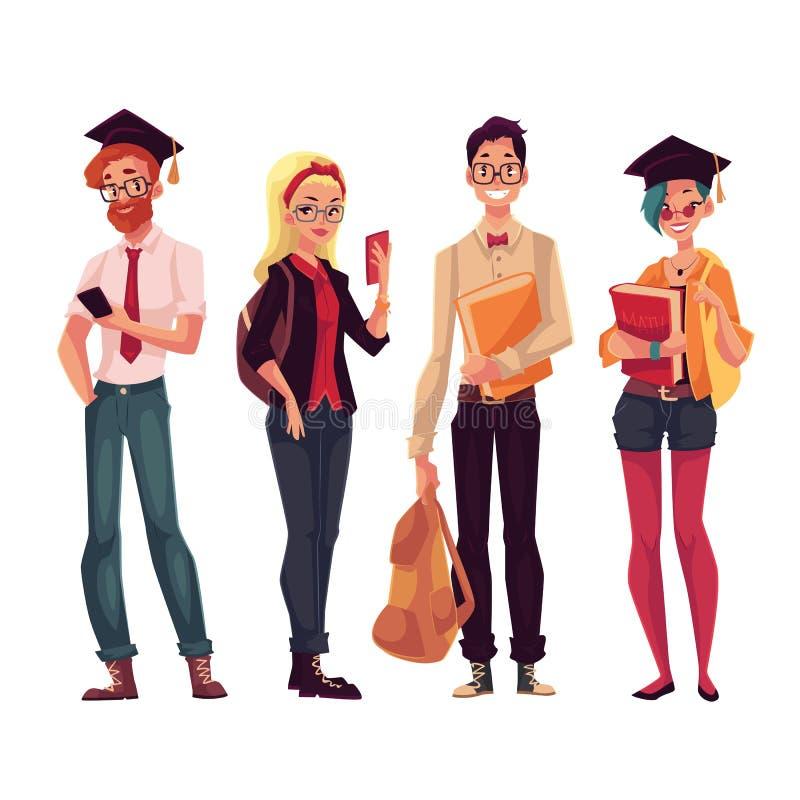 Grupp av högskola, universitetsstudenter med böcker och telefoner stock illustrationer