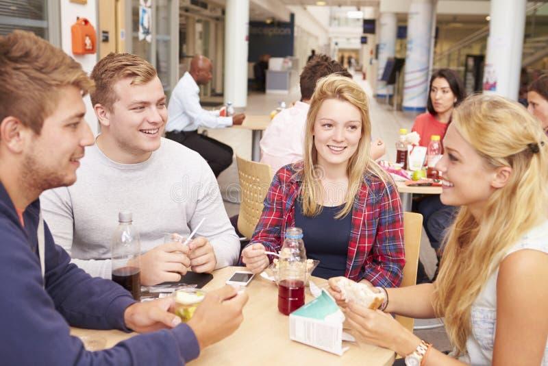 Grupp av högskolestudenter som tillsammans äter lunch arkivfoto