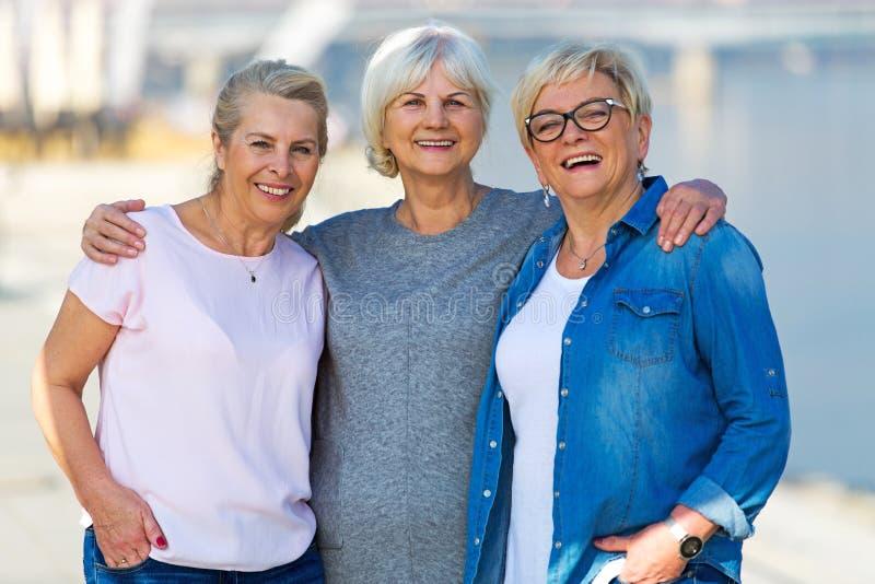 Grupp av högt le för kvinnor royaltyfria foton