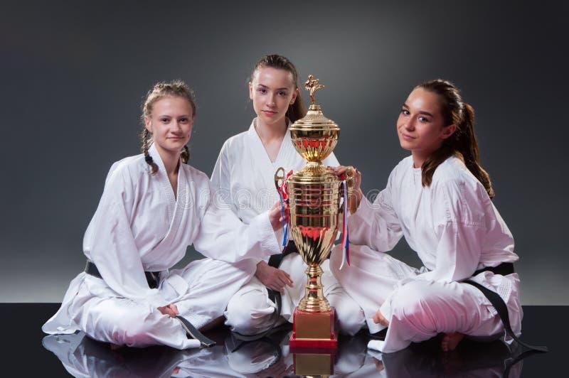 Grupp av h?rliga kvinnliga karatespelare som poserar med koppen p? den gr?a bakgrunden Fira det 1st st?llet fotografering för bildbyråer