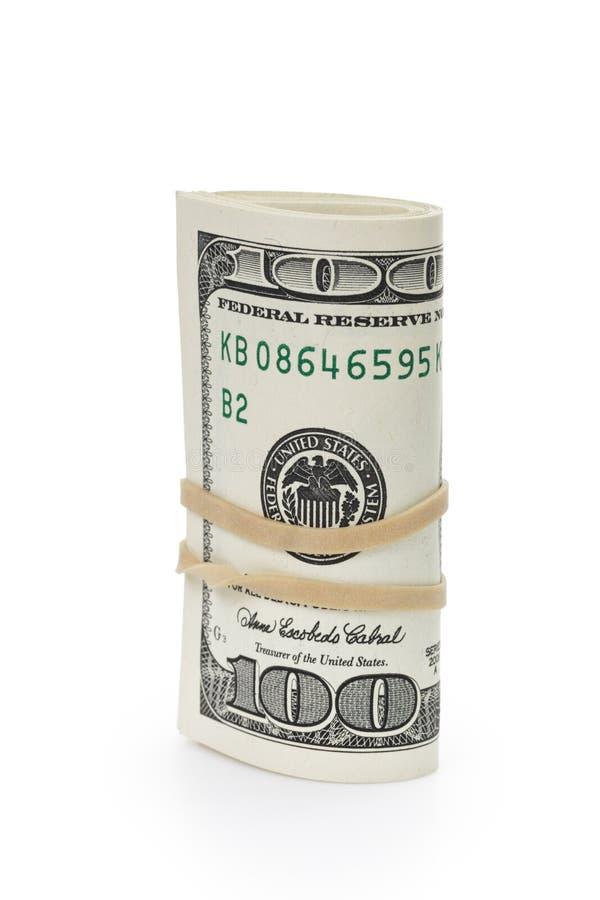 Grupp av hundra dollarräkningar som binds med gummi royaltyfri fotografi