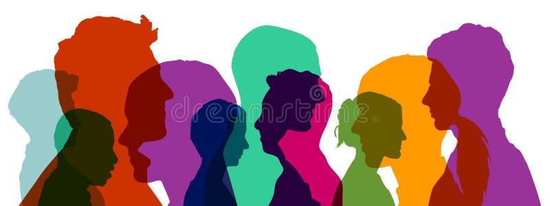 Grupp av huvud i olika färger royaltyfri illustrationer