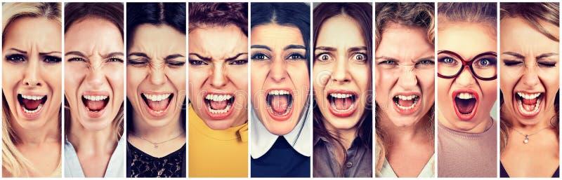 Grupp av ilsket skrika för folk royaltyfri bild