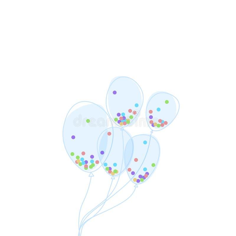 Grupp av klara ballonger som fylls med färgrika konfettier Hand-dragen vektorgarnering för barns parti vektor illustrationer