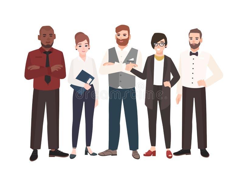 Grupp av kontorsarbetare som tillsammans står Lag av den lyckliga mannen och kvinnliga professionell roliga tecknad filmtecken stock illustrationer