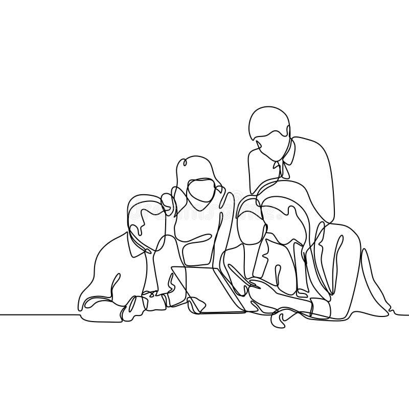Grupp av kontorsarbetaren som diskuterar ett projekt Begrepp av den fortlöpande en linjen minimalist design för lagarbete för tec stock illustrationer