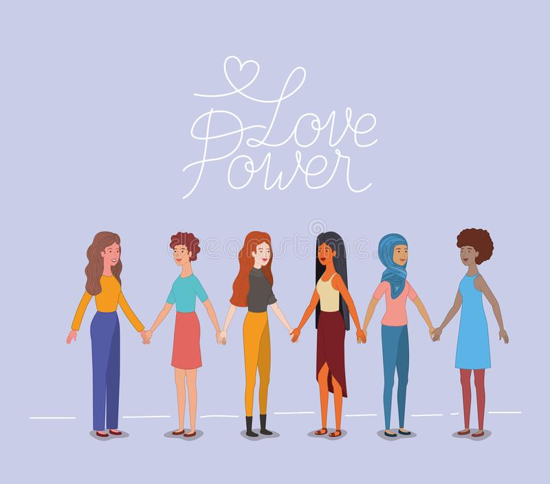 Grupp av kvinnatecken med det feministiska meddelandet vektor illustrationer