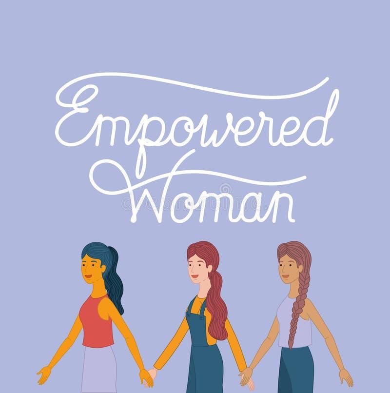 Grupp av kvinnatecken med det feministiska meddelandet royaltyfri illustrationer