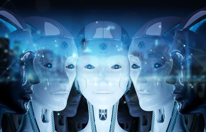 Grupp av kvinnliga robothuvud som skapar den digitala tolkningen f?r anslutning 3d royaltyfri illustrationer