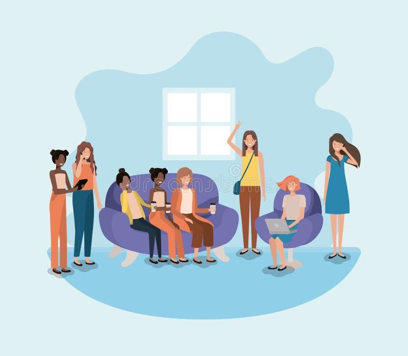 Grupp av kvinnor i vardagsrum genom att använda teknologi royaltyfri illustrationer