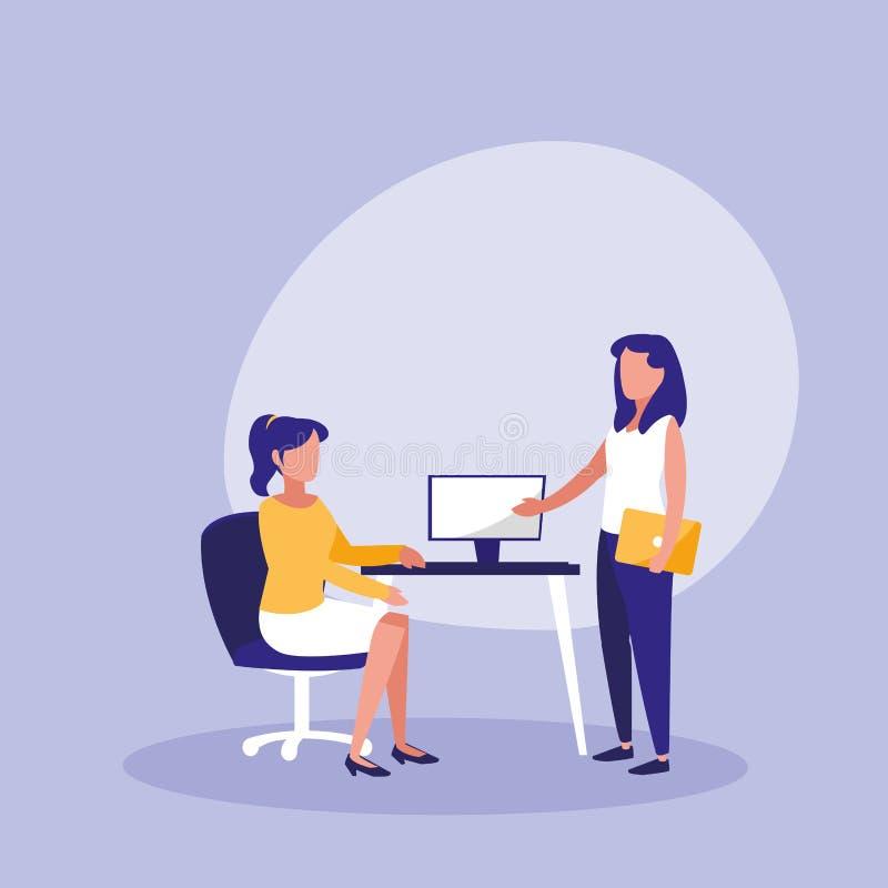 Grupp av kvinnor med skrivbordet i arbetsplats stock illustrationer