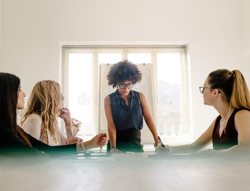 Grupp av kvinnor som har ett möte i styrelse royaltyfria bilder