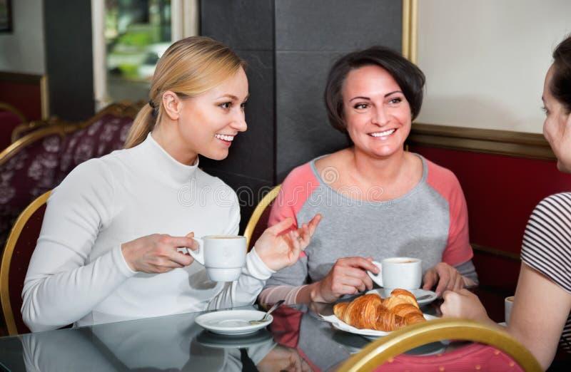 Grupp av kvinnor som tar en konversation över en kopp kaffe royaltyfri bild
