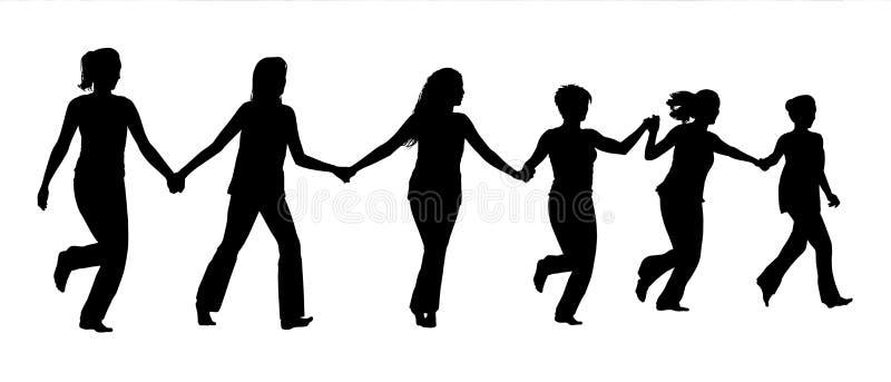 Grupp av kvinnor som tillsammans rymmer händer och spring royaltyfria foton
