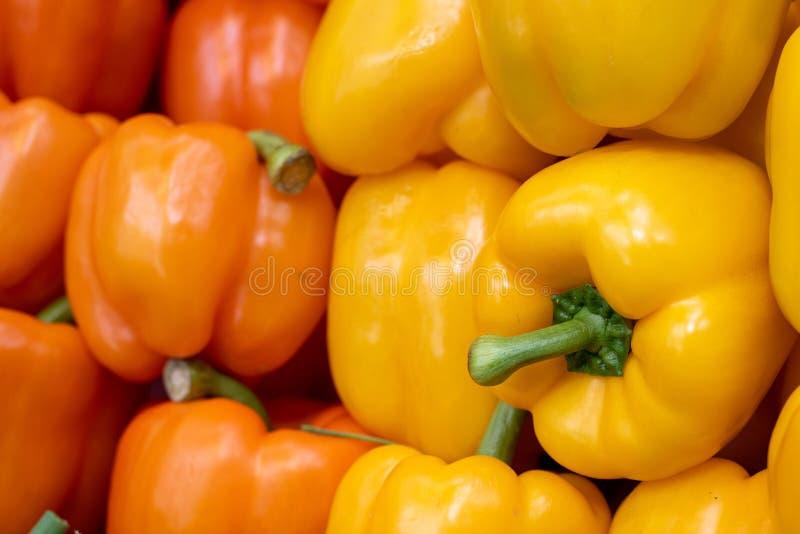 Grupp av läckra och nya gula och orange peppargrönsaker för röda paprikor, på en fruktmarknad royaltyfri foto